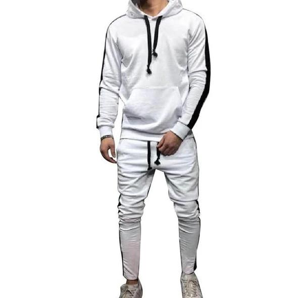 2PCS Men Tracksuit Jogging Top Bottom Sport Sweat Suit Hoodie Trousers Pants Set