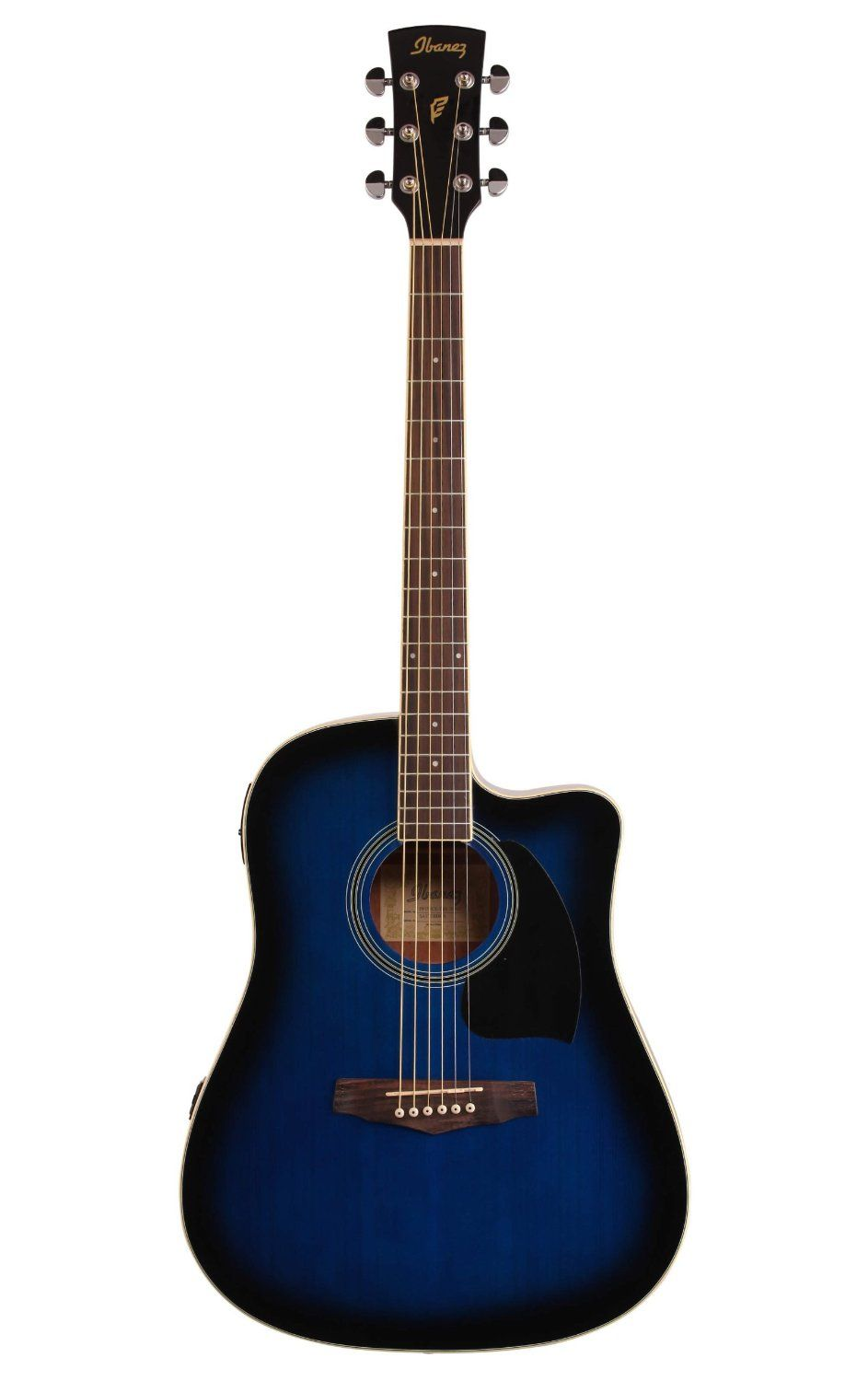 Amazon Com Ibanez Pf15ece Dreadnought Acoustic Electric Guitar Transparent Blue Sunburst Musical Instrumen Acoustic Electric Guitar Acoustic Electric Guitar