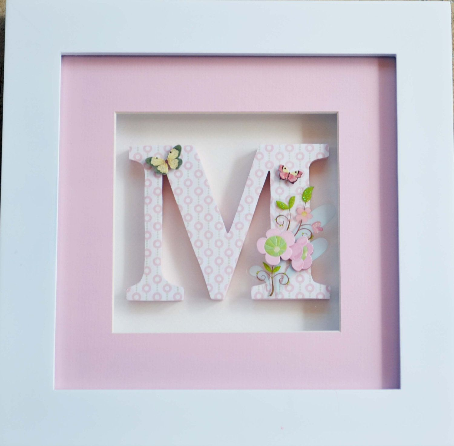 One Individually Framed Childrens Letter - Pink Butterflies and ...