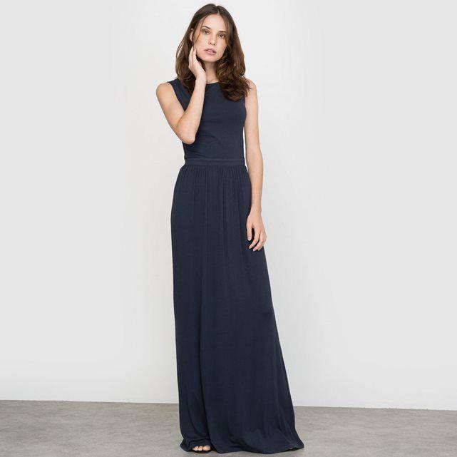 Robe Longue En Jersey Fluide Robe Longue Idees Vestimentaires Robe Demoiselle D Honneur