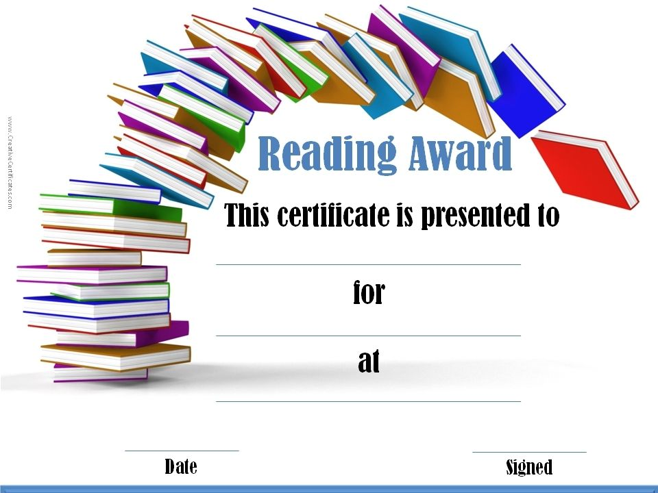 Free printable reading certificate templates ptp6k8ux reading awards and certificate templates free customizable creative certificates yadclub Images