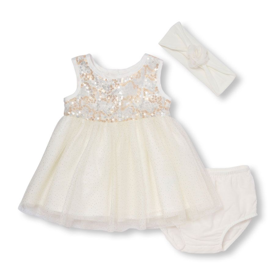 Baby Girls Sleeveless Sequin Dress, Headwrap And Bloomers Set