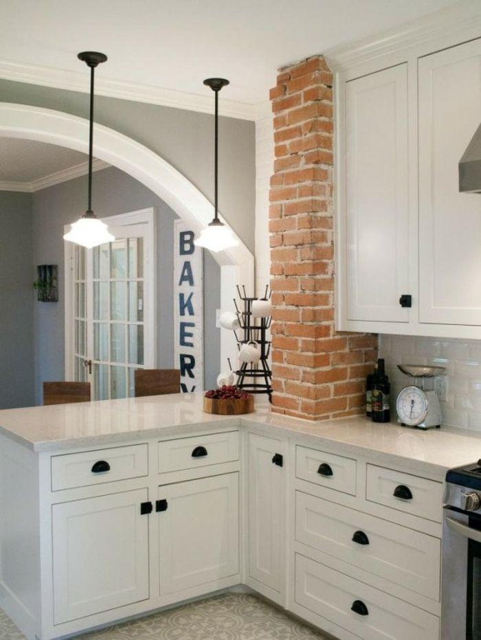 Wandgestaltung Küche Wandfliesen Und Ziegelwand Als Akzent
