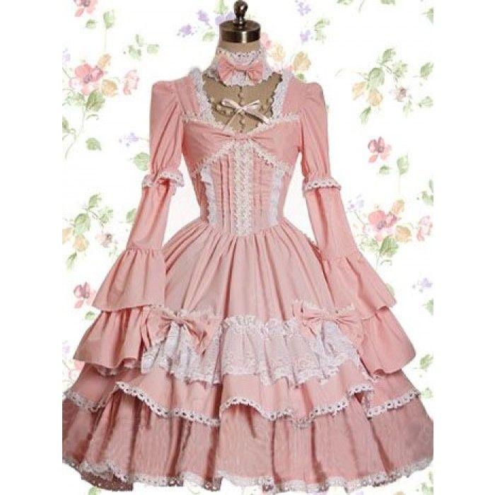 Robe longue sweet lolita en coton rose manches longues à volant ...