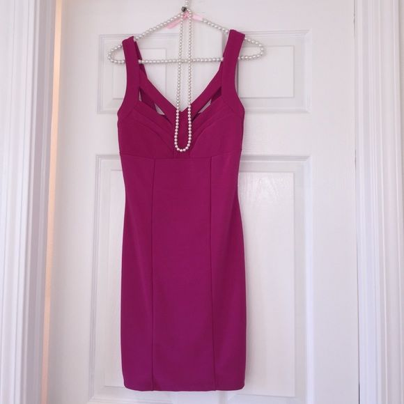 PRETTY IN HOT PINK!! A cute little dress with stretch and a cute front bust area! Very sexy! Janette Fashion Dresses Midi