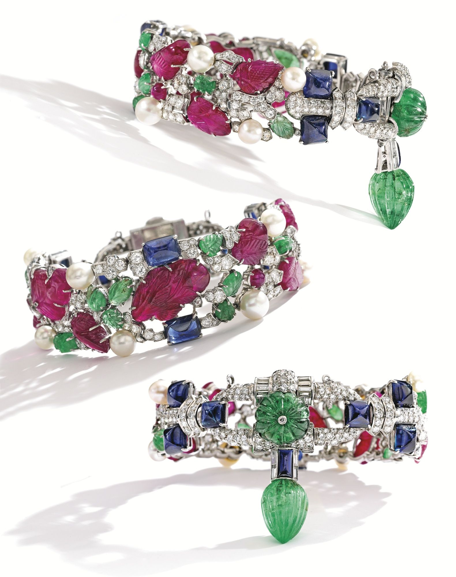 Platinum, Carved Colored Stone, Diamond and Pearl 'Tutti Frutti' Bracelet, Cartier   Lot   Sotheby's