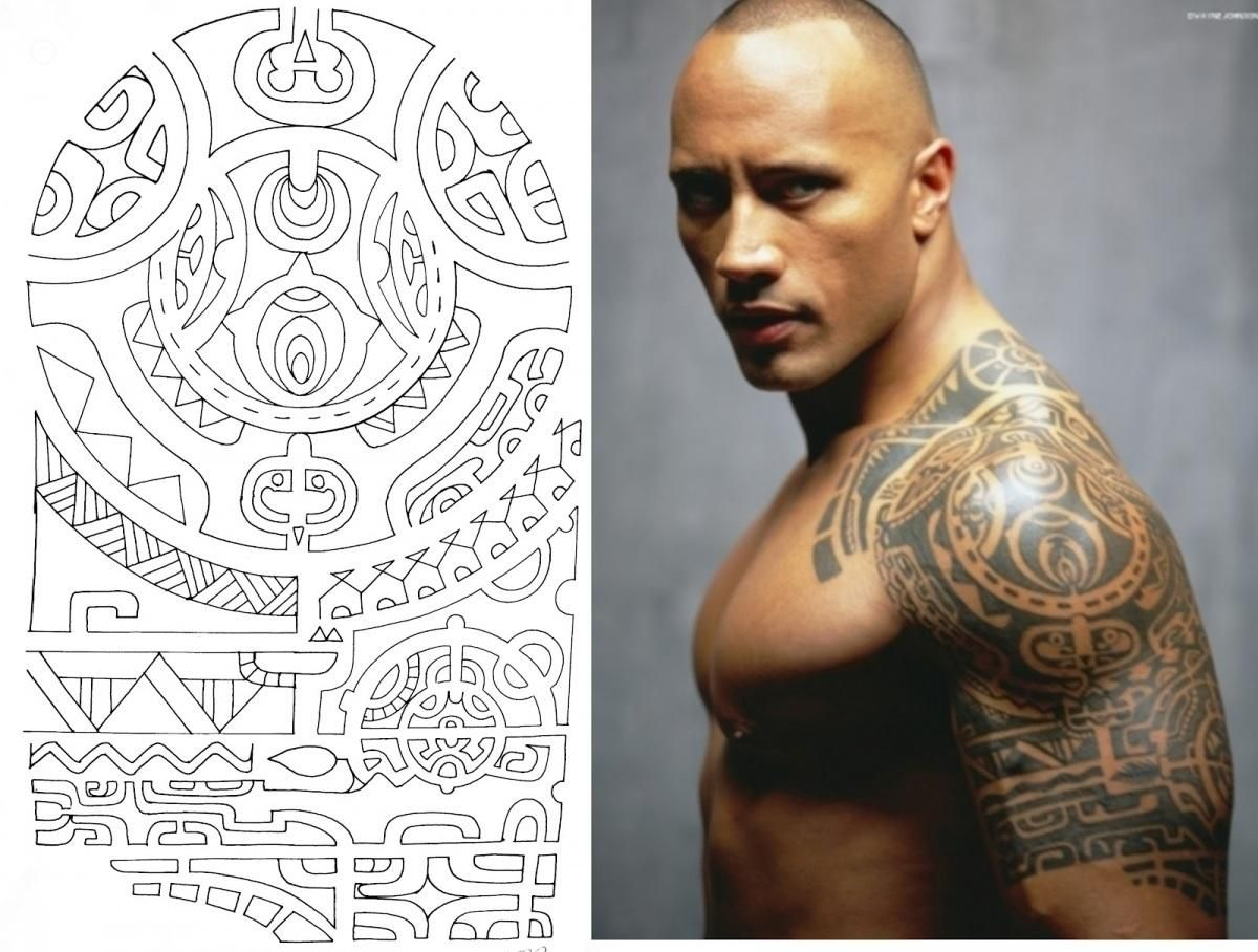 tatouage polynesien the rock