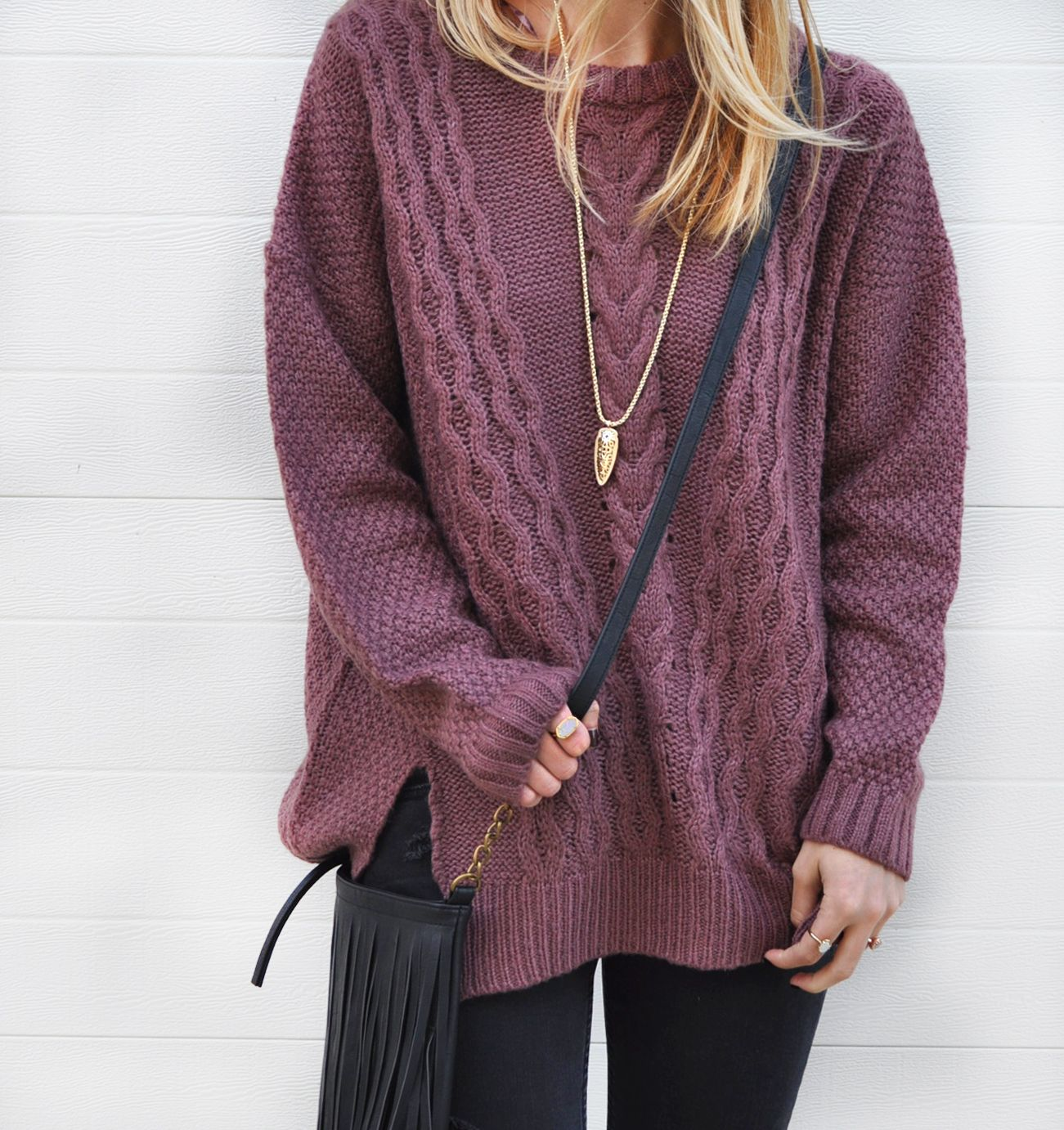 cable knit sweater (on sale!) / LivvyLand | Best Beauty & Style ...