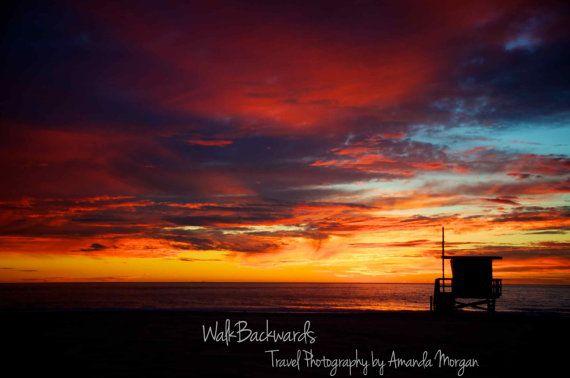 Manhattan Beach (El Porto), California Stunning Sunset and Lifeguard Tower Silhouette, Fine Art Print