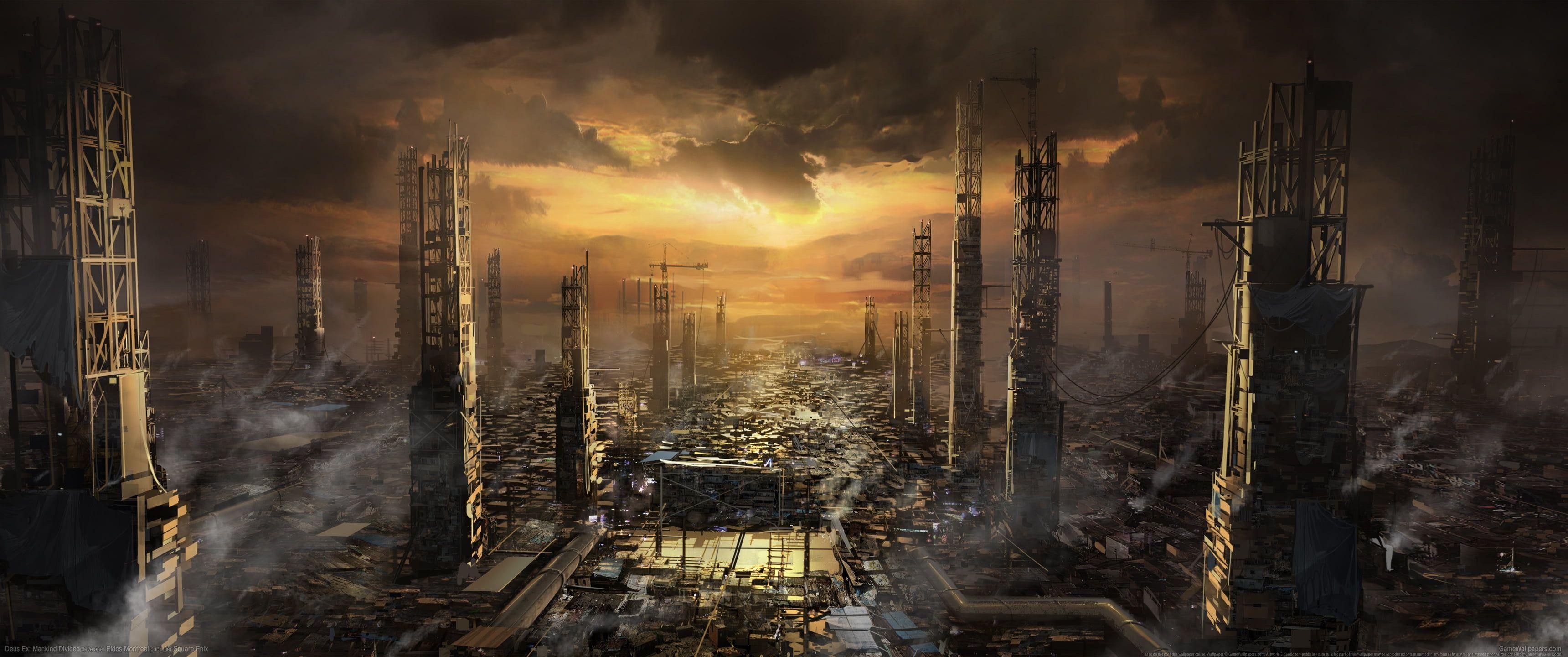 Video Games Ultrawide Ultra Wide Deus Ex Mankind Divided Cyberpunk Video Game Art Deus Ex 2k Wallpaper Hdwal Deus Ex Deus Ex Mankind Divided Concept Art