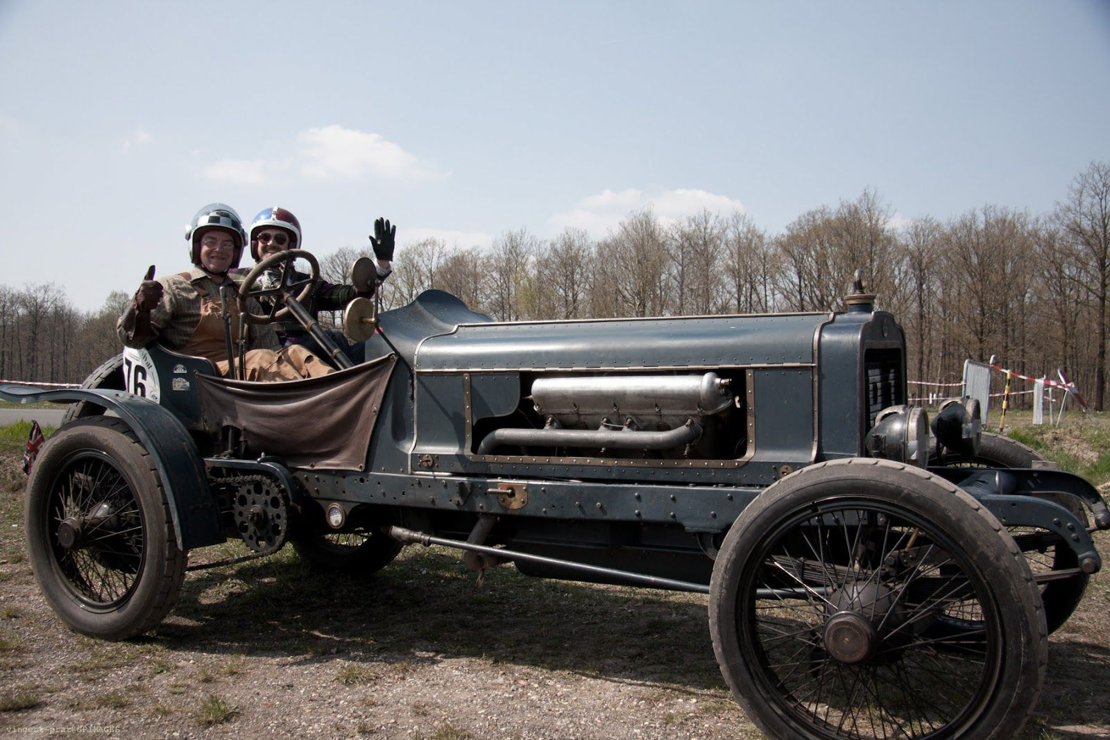 George Cohen and Paul D'Orleans on Brasier Hispano V8 engine 1908