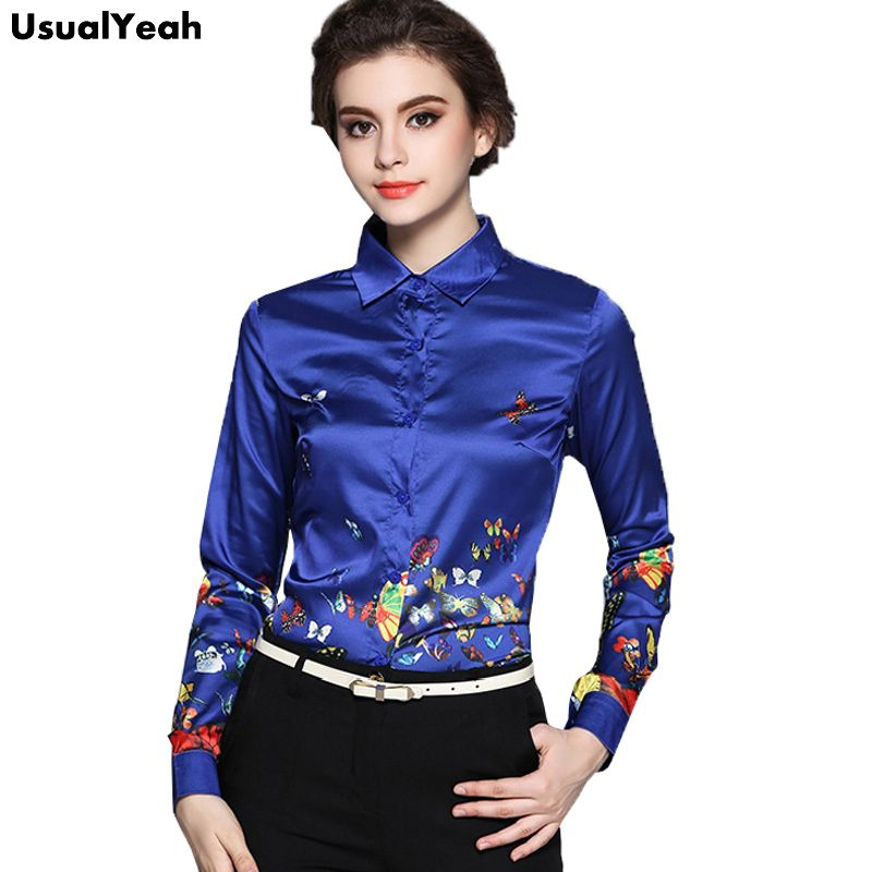 f163d4a4425 USUALYEAH Autumn Womens Shirts Butterfly Blouse Long Sleeve Ladies Office  Blouse Casual Tops Blue Female Blusas