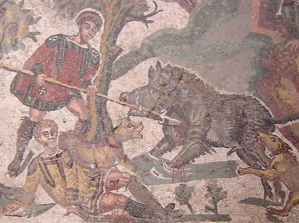 One of the mosaics of the late-antique Roman villa at Piazza Armerina. Photo Marco Prins.