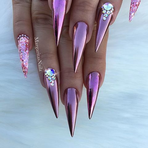 rose gold chrome stiletto nails bling nail art design