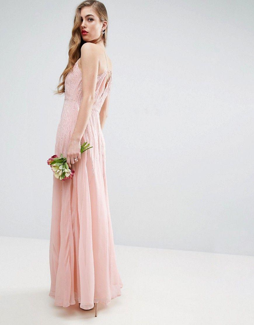 216362157b2 ASOS WEDDING Cami Strap Embellished Maxi Dress - Beige