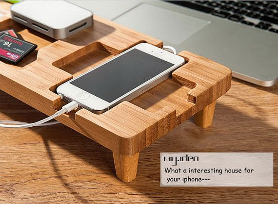 Unique bamboo iphone dock, iphone Docking Station, desk caddy,  multi-function Wooden