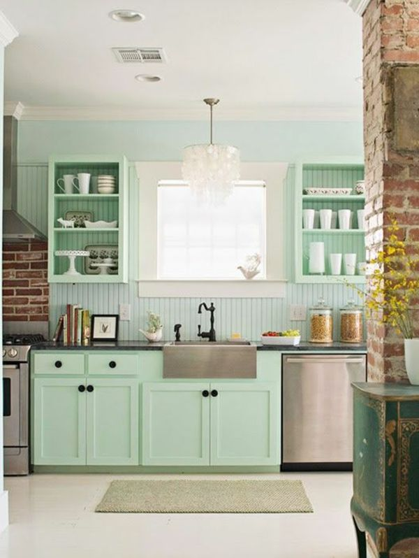 mintgrün wandfarbe für eine frische und originelle wandgestaltung der küche