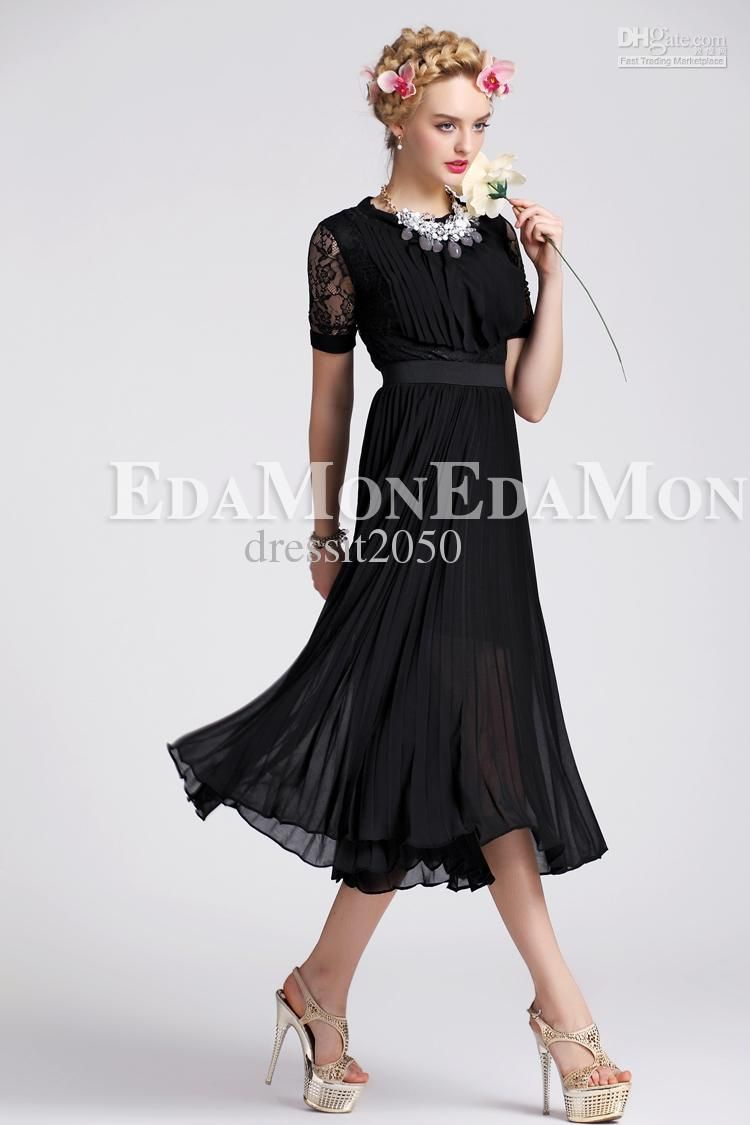 Sexy Black Sleeve Tea-Length Casual Dresses Work OL Column Skirt ...