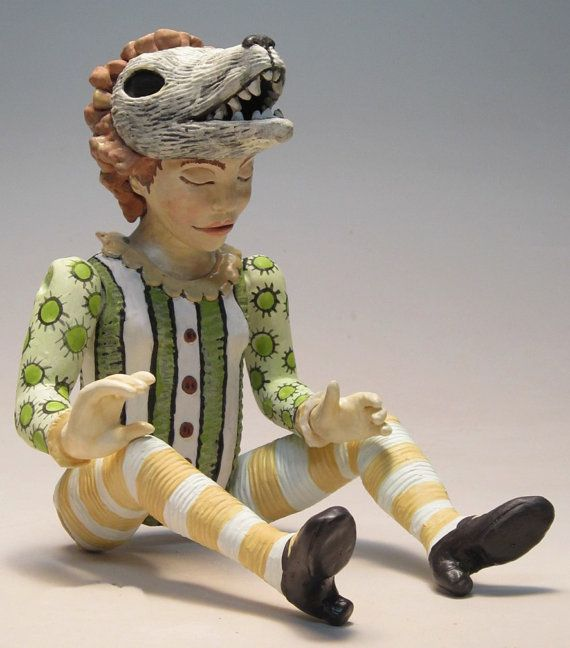 Second Fiddle girl with wolf visor Original ceramic art by chlola, $385.00
