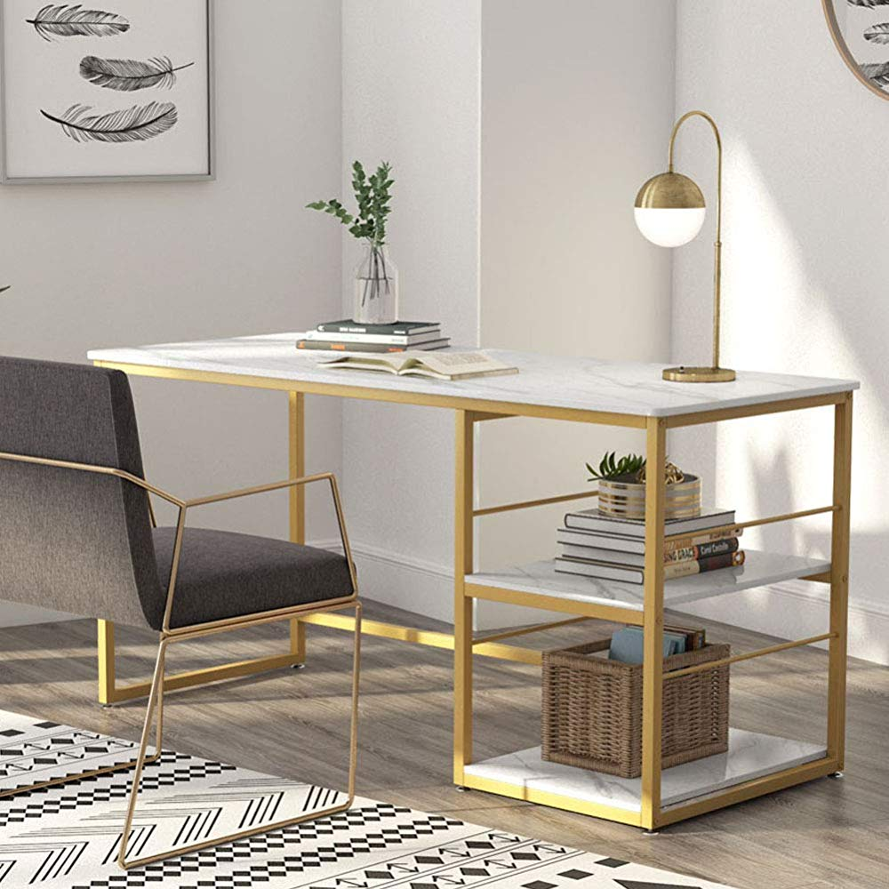 Tribesigns 55 Inch Computer Desk With 2 Tier Storage Shelves Faux Marble Modern Home Office Desk Stud In 2020 Office Table Design Desk Modern Design Home Office Desks