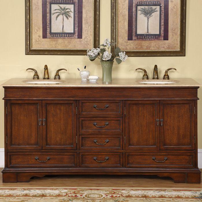 Silkroad Exclusive Natural Stone Top Sink Cabinet 72-inch Bathroom Double Vanity  Sink Cabinet |