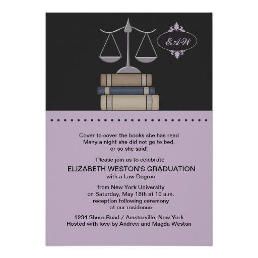 """Scale of Justice Mauve, Law School Invitation 5"""" X 7"""" Invitation Card"""