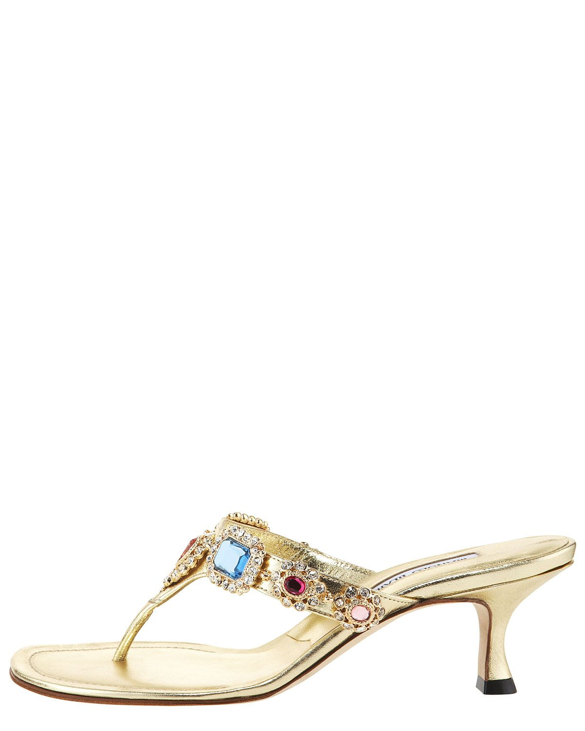 Women's Metallic Beaded Kitten-heel Thong Sandal | Kitten heels ...