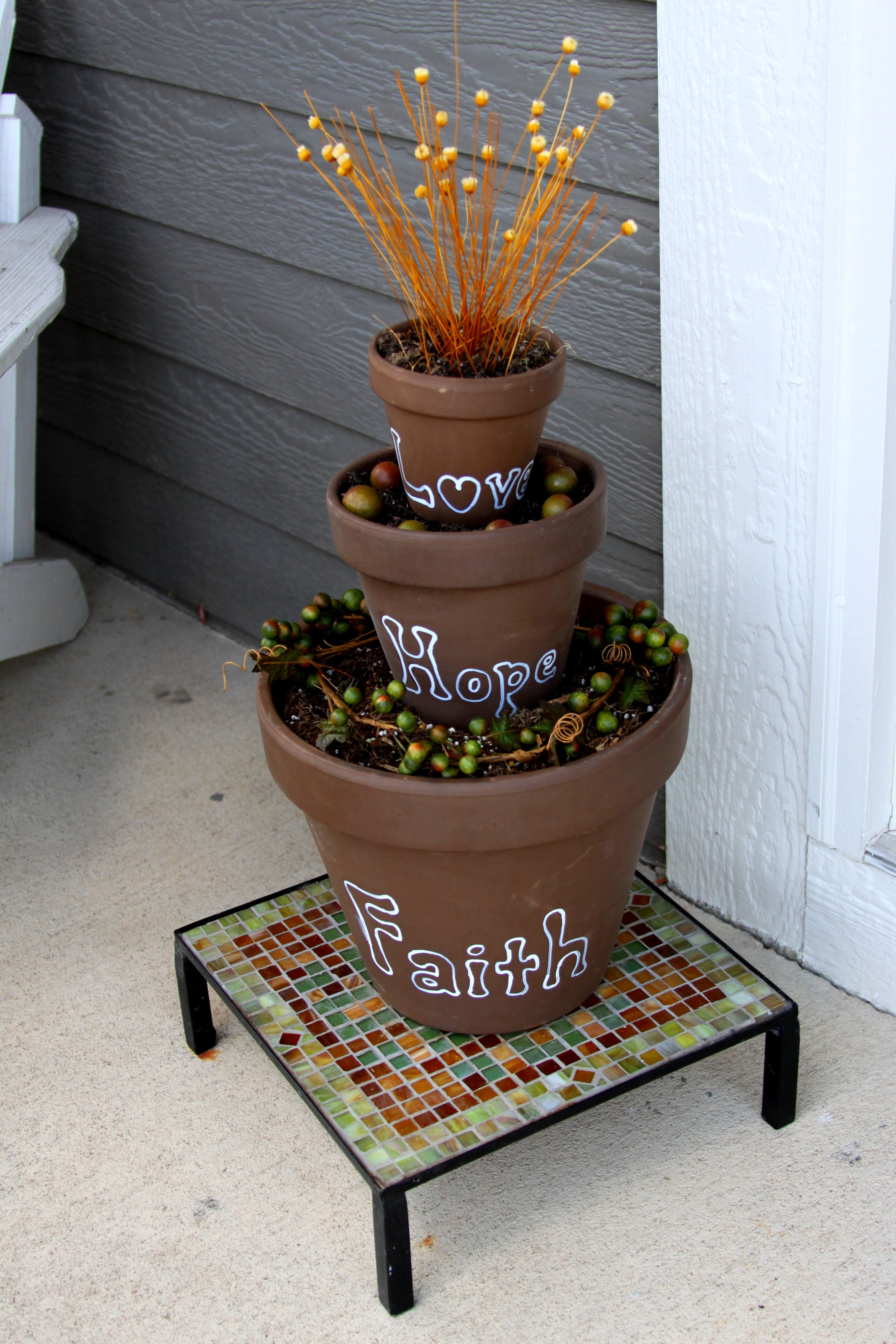Faith Hope Love Planter Total Cost 11 00 Pots Made In Italy From