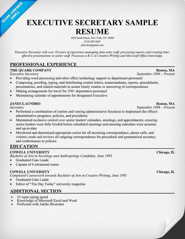 How To Write an Executive #Secretary Resume (resumecompanion - ceo personal assistant sample resume