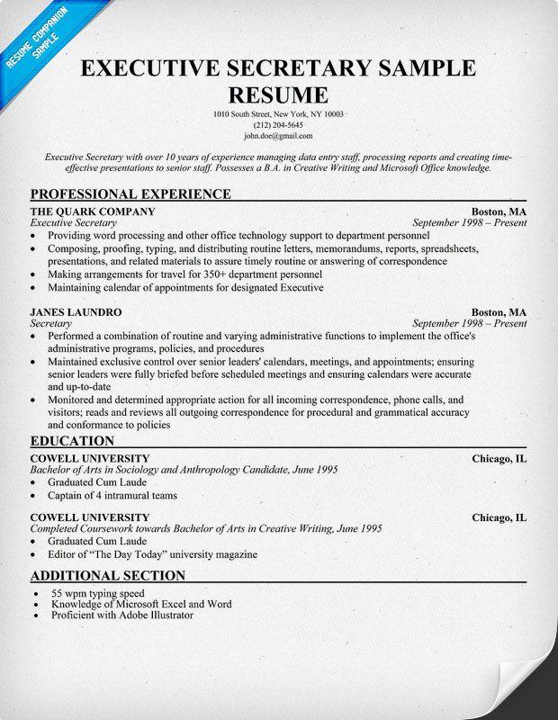 Executive Secretary Resume Resume Companion Medical Assistant Resume Resume Examples Administrative Assistant Resume
