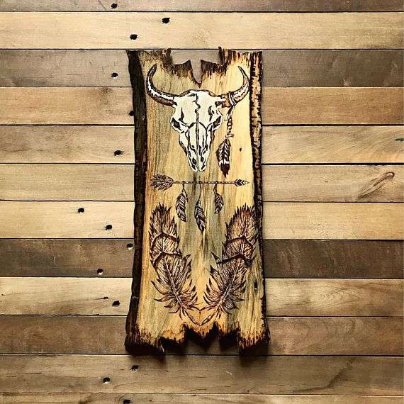 NATIVE AMERICAN ART - Southwestern Decor - Wood Burning - Wood Wall ...