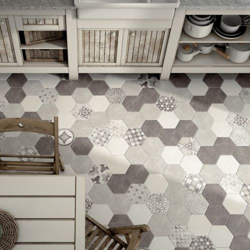 carrelage hexagonal sur pinterest salle bains accueil bain mural octogonal sol futur appart. Black Bedroom Furniture Sets. Home Design Ideas