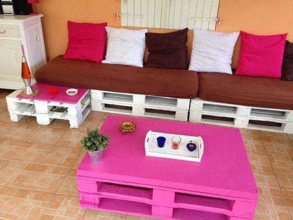 Canapé D\'angle En Palettes / Corner Pallet Sofa | Pallet sofa ...