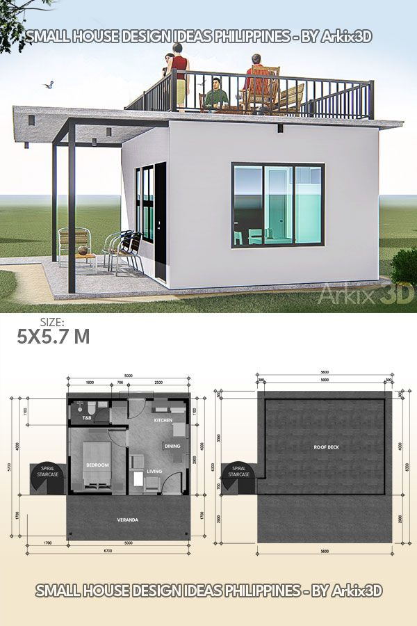 Small House Design With Roof Deck 1 Bedroom House Construction Plan Small House Design Small House Design Plans