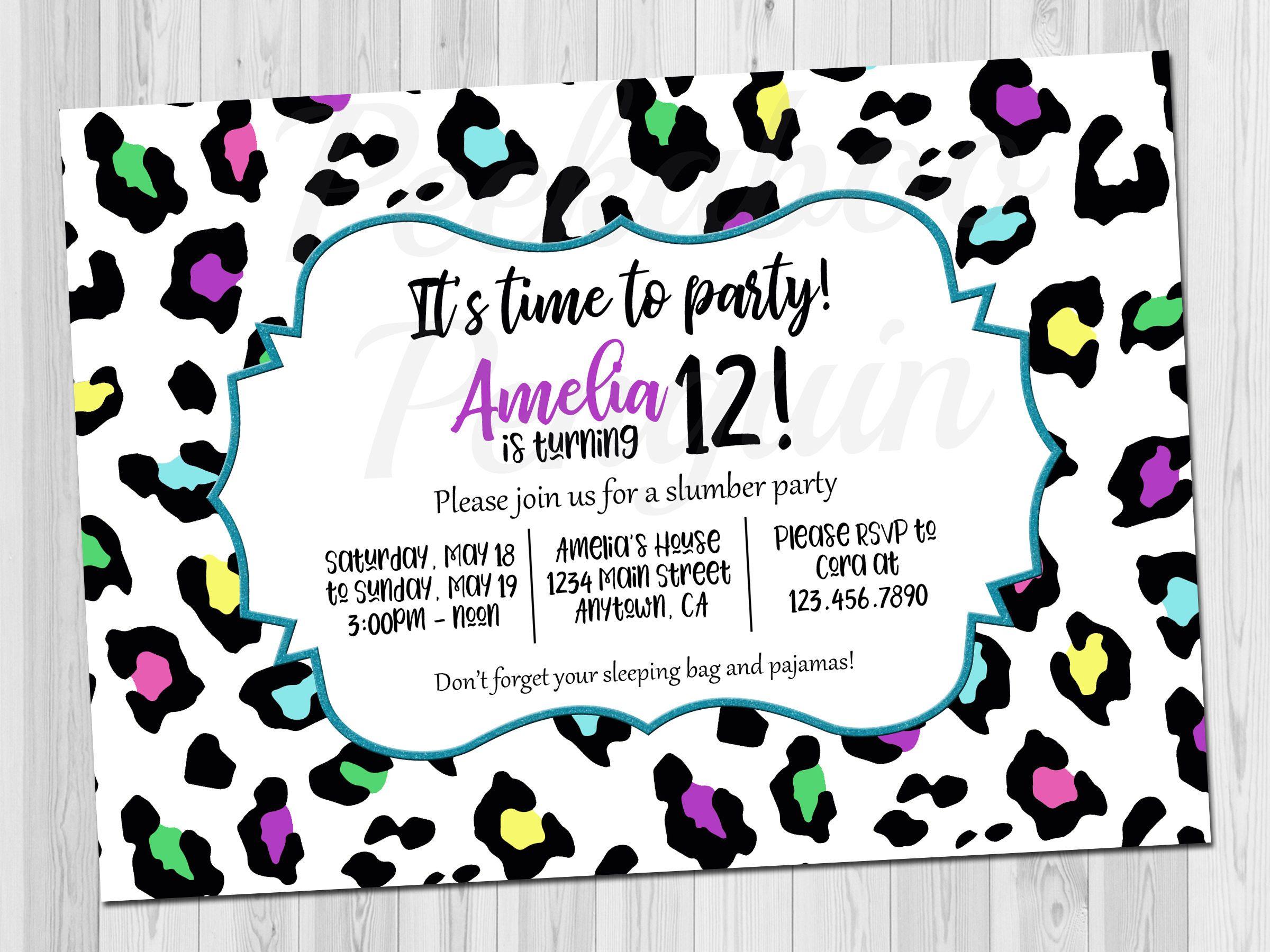 Teen Birthday Invitation, Tween Birthday Invite, Rainbow Cheetah ...