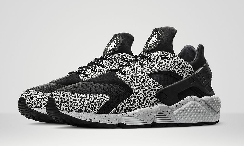 Wmns Nike Air Huarache Id Run Safari Black White Pure Platinum TopDeals