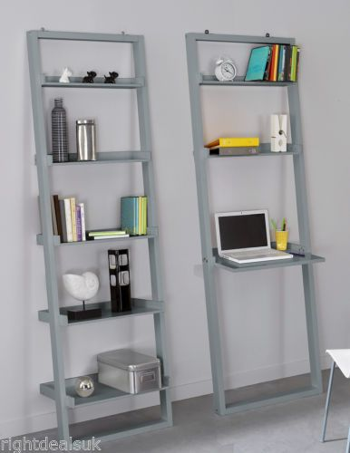 Modern Leaning Bookcase Ladder Shelf Storage Or Laptop Desk White Taupe Grey Ebay Shelving Unit Leaning Bookcase Ladder Bookcase