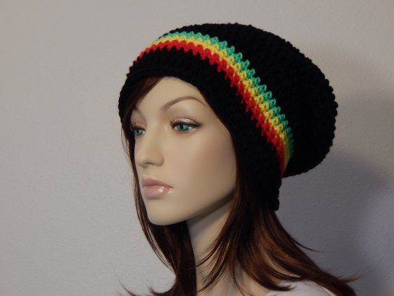 36e05a225 Bright Rasta Slouch Hat, Black, Bright Red, Bright Yellow, and ...