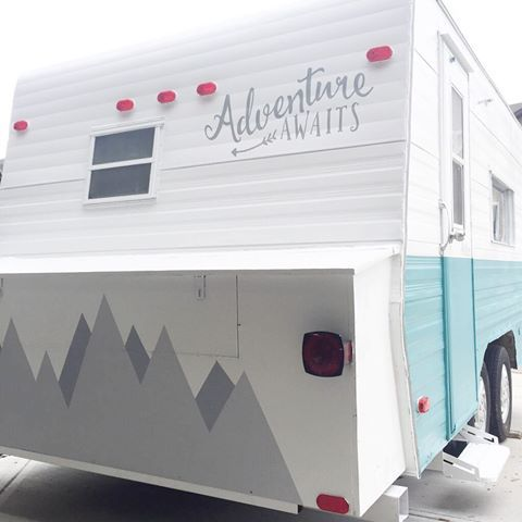 Another Peek At Myrtle S Fancy Behind Along With Her Beautiful And Fresh Two Tone Side We Ll Do A Bi Vintage Camper Remodel Shasta Camper Remodel Camper Decor