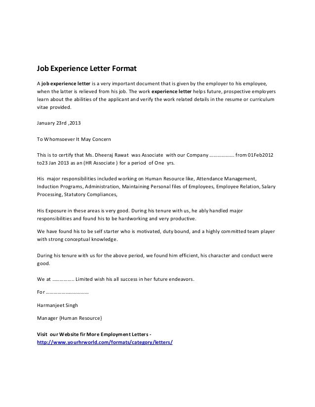 Job Experience Letter Format A Is Very Important Document That Given By The Employer To His Emp