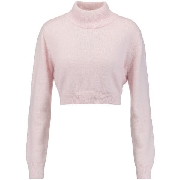 922e2d152 Balmain Cropped angora-blend turtleneck sweater ( 365) ❤ liked on Polyvore  featuring tops