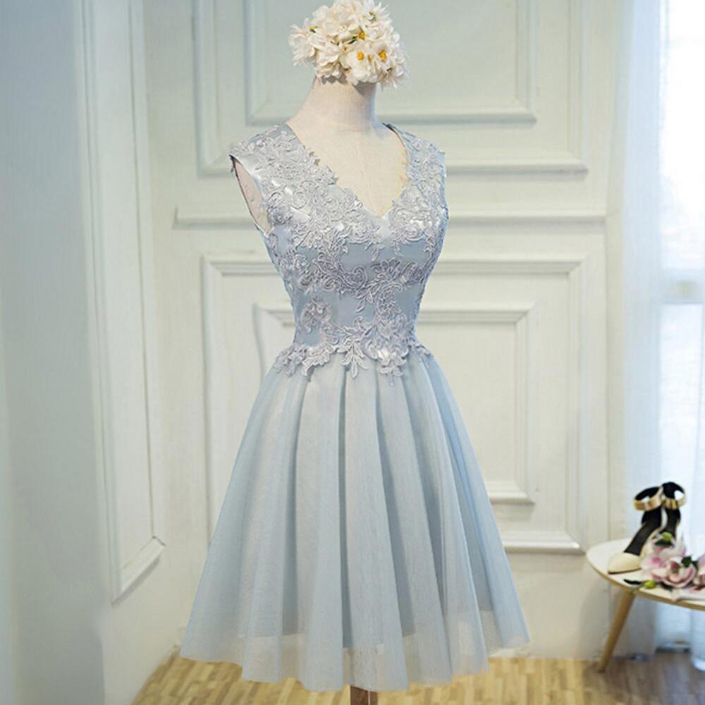 Popular v neckline gray lace tulle short homecoming prom dresses