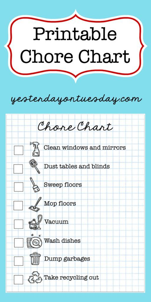 household cleaning chore chart