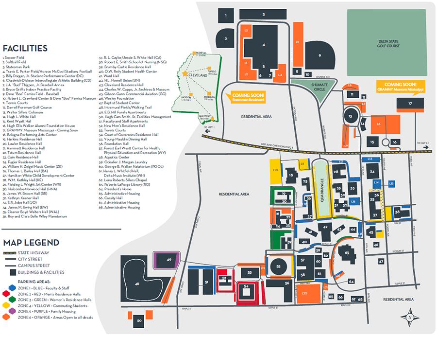 Campus Map Delta State University campus maps Pinterest