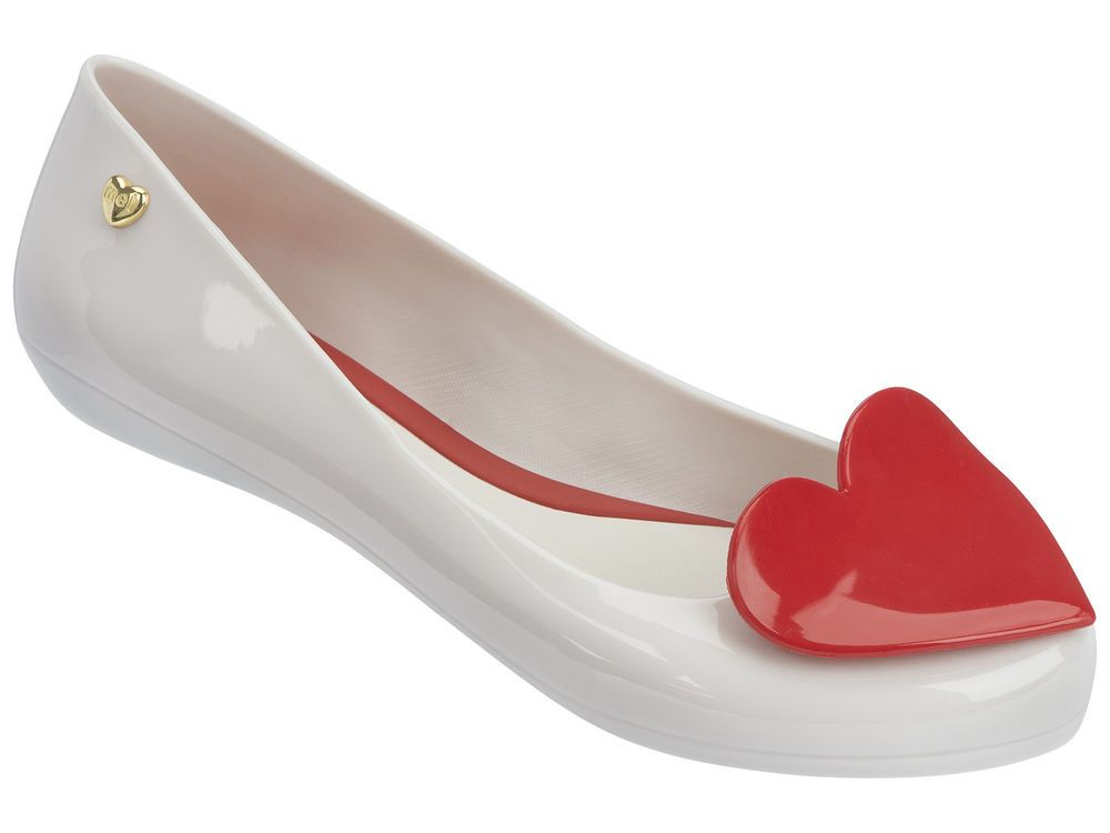 Mel Shoes Pop 2 White/Red Heart Flats Womens in Clothes, Shoes & Accessories