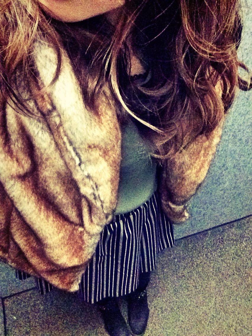Fur coat style.