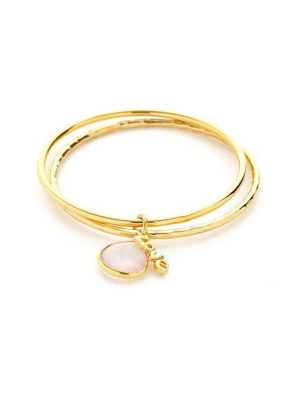 Set Of 2 Rose Quartz & Love Charm Bangle Bracelets