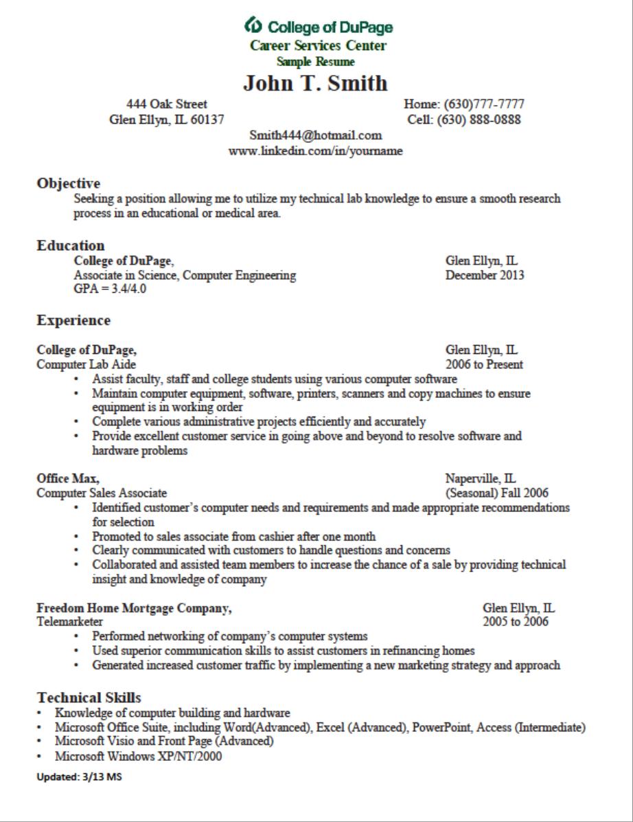 Sample Chronological Resume Free word document, Resume