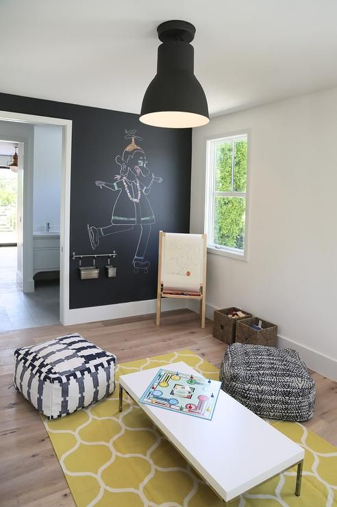 Black And White Playroom With Pops Of Color