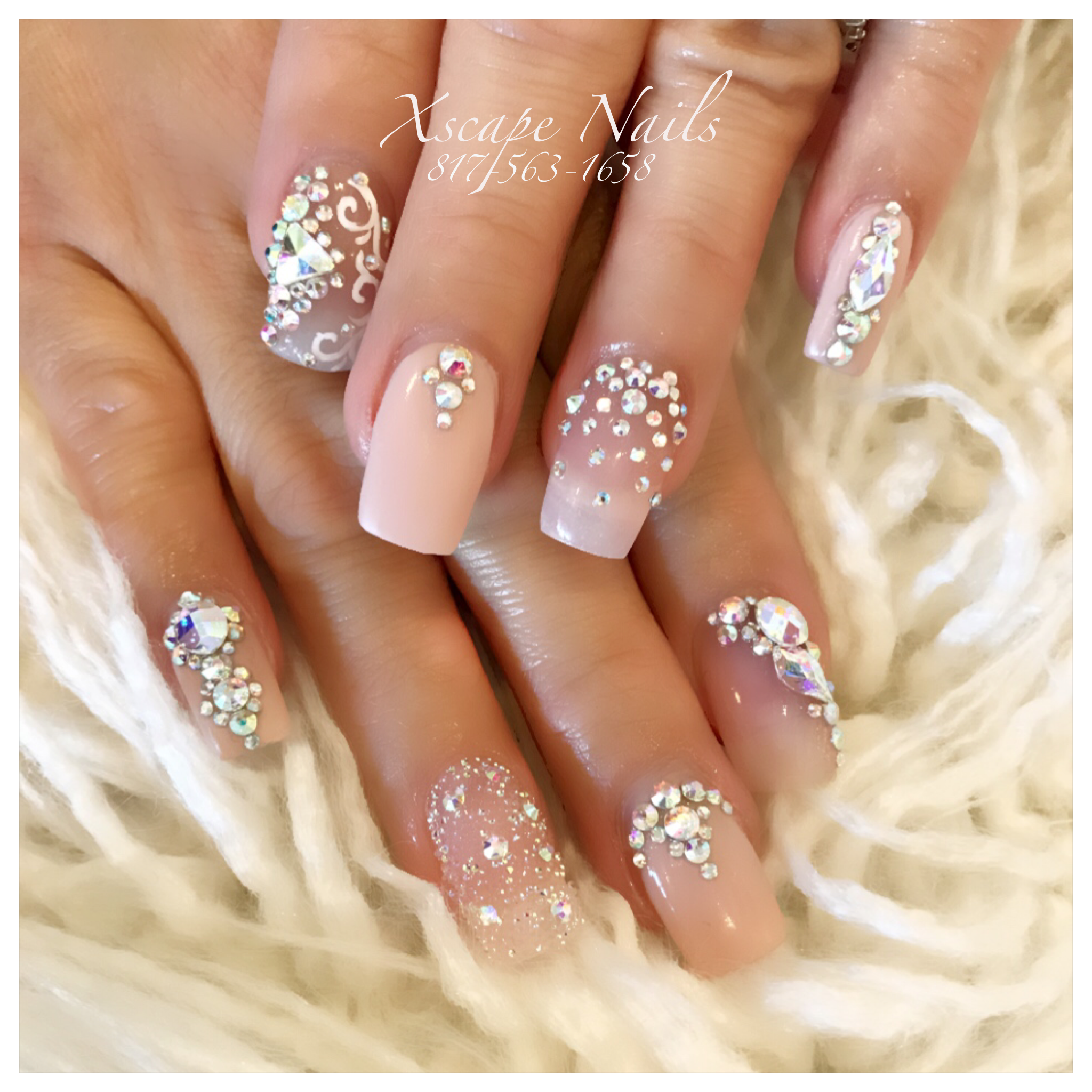 #pink bling crystal pixie Nails | Cute Nails Designs ...
